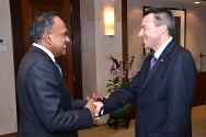 ICRC President Peter Mauer meets K Shanmugam, the Minister for Foreign Affairs and Minister for Law.