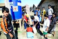 The ICRC and the Myanmar Red Cross make sure displaced people from both Muslim and Rakhine communities have clean water, in order to prevent the spread of water-borne disease.
