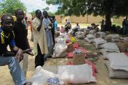 Diffa Commune. Displaced people receiving food packages to last for two months.