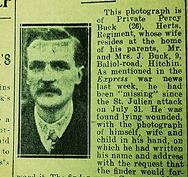 Private Percy Buck from Hitchin died during the Third Battle of Ypres