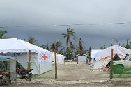 In Baganga municipality, a basic health care unit was set up by the ICRC  after medical facilities were destroyed during the typhoon.