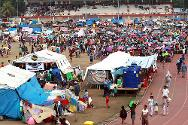 Joaquin Enriquez stadium, Zamboanga. The Philippine Red Cross and the ICRC are helping 30,000 displaced persons who have taken shelter in the stadium.