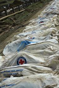 The bodies of people who died in Typhoon Haiyan/Yolanda lie in body bags.