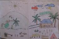 A pupil from San Victor school illustrates people living in tents after the massive destruction caused by Pablo.