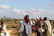 Lebi Cadaad, Puntland, Somalia. Beneficiaries carry emergency food rations (rice, beans, oil, and high protein blended food) as well as essential household items (blankets, shawls, mats, kitchen sets, hygiene kits, tarpaulins, jerrycans and washbasins) at an ICRC distribution site.