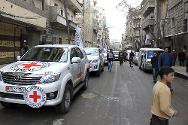 ICRC convoy arrives at Bustan Al-Qasr, an opposition controlled area in Aleppo.
