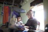 Harinna received a sewing and embroidery machine from the ICRC to help her earn a living.
