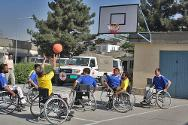 Patients play basketball.