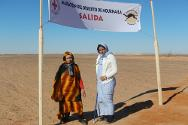 Mariem (left) about to take part in the Noukhaila desert marathon.