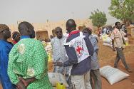 Aid distribution site, Konna, Mopti region, Mali.