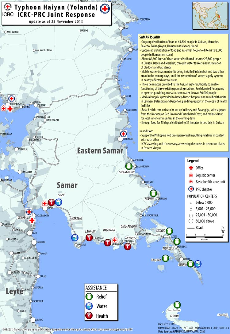 Philippines Help Reaches Samar Island Map Icrc