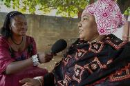 Bamako, Mali. A journalist from Studio Tamani conducts an interview.