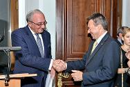 ICRC president Peter Maurer (right) and Director of the Legal Department of the Ministry of Foreign Affairs of Russia Kirill Gevorgyan (left), during an official visit to Moscow by Peter Maurer.