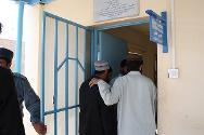 Detainees entering the clinic in the compound of Sarposa prison, Kandahar.