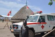 Near Gambella, Ethiopia. An Ethiopian Red Cross ambulance that provides 24-hour service in Letchuor camp.