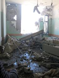 A bombed-out room in Al Aqsa Hospital