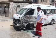 The Palestinian Red Crescent ambulance destroyed in Gaza.