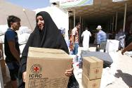 Aid distribution for people who have fled to Najaf from the area around Mosul.