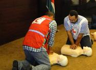 First aid training conducted by the ICRC for Jordan Red Crescent Society staff and volunteers.