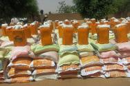 Food and other essential items prepared for distribution to the displaced in Kidal.