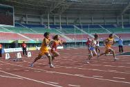 Wearing prostheses made by Hpa-an Orthopedics Rehabilitation Center, Htoo Chel Htwe and Ingyin Khin, members of the new generation of track and field Paralympic competitors, compete in the 100-metre (T-44) final. Htoo Chel Htwe won the bronze medal.