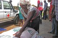 A farmer picks a bag of maize seedlings in preparation for the planting season.