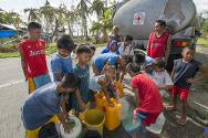 Emergency water distribution systems are set up by ICRC and PRC to provide clean drinking water to people displaced as a result of armed conflict and natural disaster.