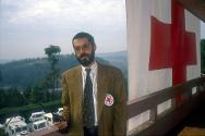 Kigali. Philippe Gaillard on the balcony of the ICRC delegation.