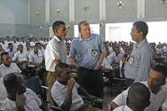 Tamil-speaking police recruits attend an introductory session on