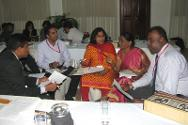 Participants from Sri Lanka and India deliberate about a case study on international humanitarian law.