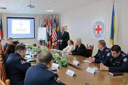ICRC military advisor Raul Forster addresses senior officers of the National Guard of Ukraine during a round table discussion on the application of humanitarian rules.