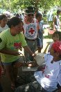 Photo, an internally displaced person gets a medical checkup in Lanao del Norte.