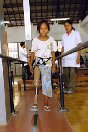 Photo, Cambodia. ICRC physical rehabilitation centre, Battambang. A mine victim begins the long process of learning to walk again.