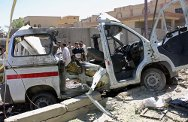 Fallujah, Iraq, 13 September 2004. This ambulance was destroyed in an attack, killing the driver, two nurses and the five wounded people it was transporting to hospital.