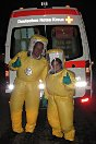 Germany. Two young German Red Cross volunteers take a break after a day of training at the Medical Hazmat Unit.