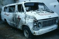 Lebanon, 1983. Ambulance damaged in cross-fire during fighting between Israeli and Palestinian forces.