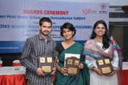 The three award winners of the best print media article on a humanitarian subject pose for pictures with their trophies. From left to right are Imran Muzaffar, Greater Kashmir (Joint Second Prize), Anumeha Yadav, The Hindu (First Prize) and Mini P Thomas, The Week (Joint Second Prize).