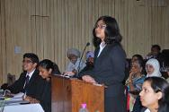 The winning team presenting their arguments during the 9th Regional Moot Court Competition at ISIL, New Delhi.