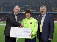 FC Barcelona star, Lionel Messi, receiving a €100,000 cheque from UEFA. The money will support the ICRC's efforts to help mine victims and other disabled in Afghanistan