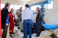 ICRC water engineers assess the condition of water pumps and motors at the Al-Basil water treatment plant, Syria.