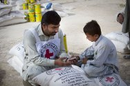 The ICRC distributes food to flood victims in Sibi district in Pakistan.