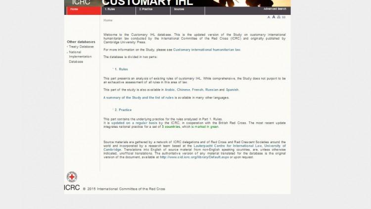 Base de datos sobre derecho DIH consuetudinario actualizada - 6 de noviembre de 2014 (en inglés)