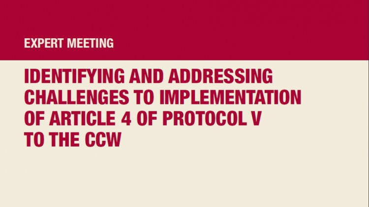 Identifying and addressing challenges to implementation of article 4 of Protocol V to the CCW: Expert meeting