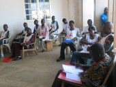 Central African Red Cross volunteers attend an ICRC training course in Boda on restoring family links.