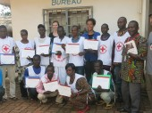 Red Cross volunteers with their certificates showing they took part in the ICRC training course.