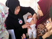 An ICRC health delegate examining a child from a displaced family in Kufa, Najaf. /ICRC/S.Baqer
