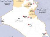 خريطة العراق - محافظتي كركوك ونينوى ومدينة خانقين