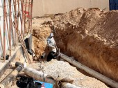 Amra wa Omera pumping station, North Badia: Construction is in progress. CC BY-NC-ND/ICRC/Hala Shamlawi
