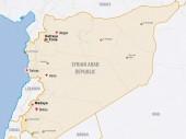Mapa da Síria mostrando a presença do CICV e a localização das três cidades sitiadas de Madaya, Foua e Kefraya.
