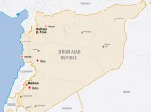 Carte de la Syrie avec la présence du CICR et la location des trois villes assiégées de Madaya, Foua et Kefraya